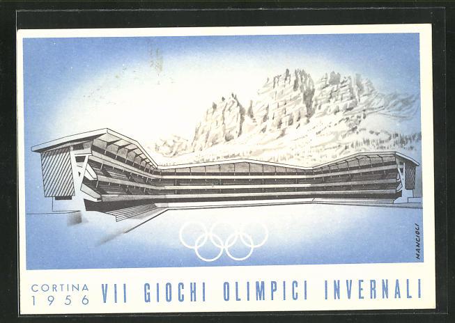 Künstler-AK Cortina, VII. Olympische Winterspiele 1956, Stadion 0