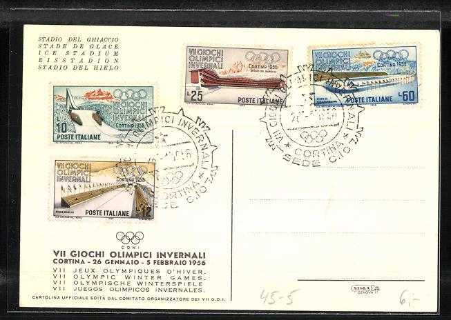 Künstler-AK Cortina, VII. Olympische Winterspiele 1956, Stadion 1