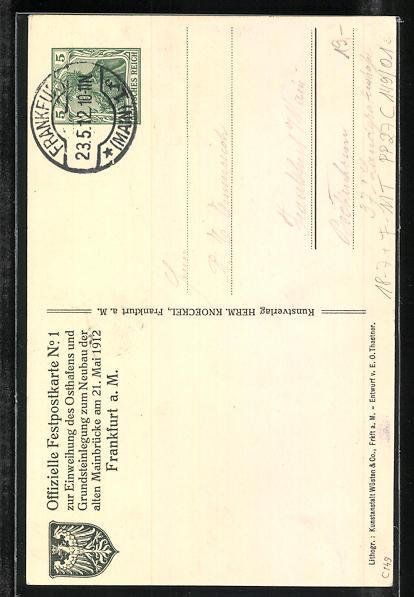 AK Frankfurt, Die alte Mainbrücke im Jahre 1912, Ganzsache PP27 C149 /01 1