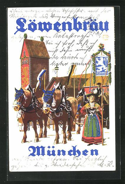 Künstler-AK Siegmund von Suchodolski: München, Löwenbräu, Oktoberfest 0