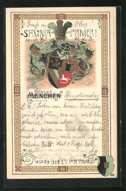 Lithographie München, Saxonia sei`s Panier, Studentenwappen 0