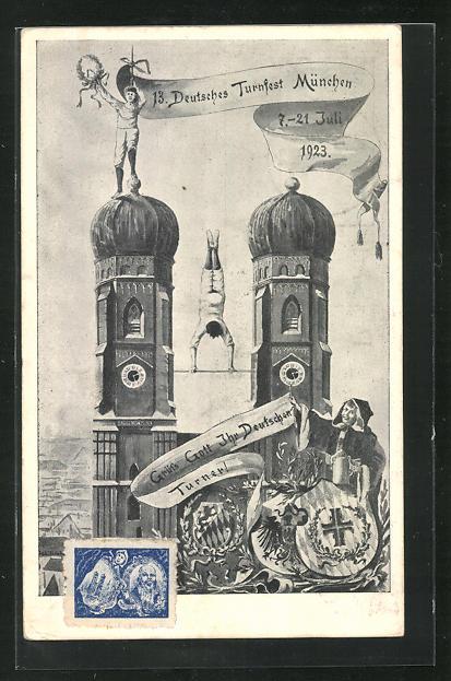 AK München, 13. Deutsches Turnfest 1923, Frauenkirche, Ganzsache PP72 C1 0