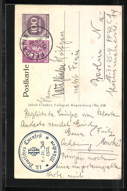 AK München, 13. Deutsches Turnfest 1923, Frauenkirche, Ganzsache PP72 C1 1