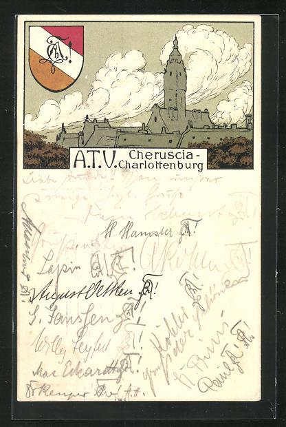 AK Charlottenburg, A.T.V. Cheruscia, Studentenwappen 0