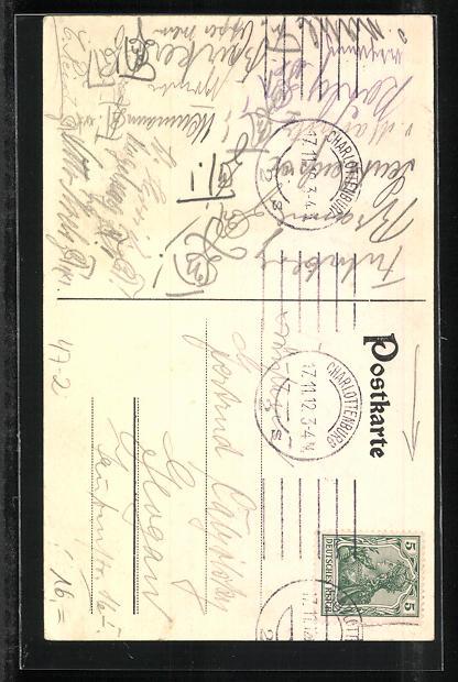 AK Charlottenburg, A.T.V. Cheruscia, Studentenwappen 1