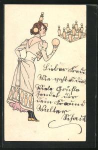 AK Junge Dame in Kleid mit Kegel-Applikationen und Kopfschmuck