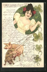 Lithographie Glückliches Neujahr, Maid mit Schweinen und Klee