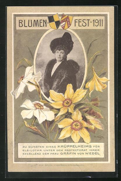 AK Blumenfest 1911 zu Gunsten eines Krüppelheims für Els.-Lothr. unter dem Protectorat der Frau Gräfin von Wedel 0