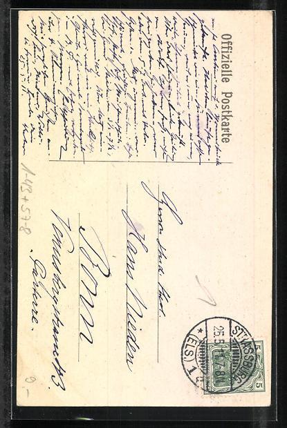 AK Blumenfest 1911 zu Gunsten eines Krüppelheims für Els.-Lothr. unter dem Protectorat der Frau Gräfin von Wedel 1