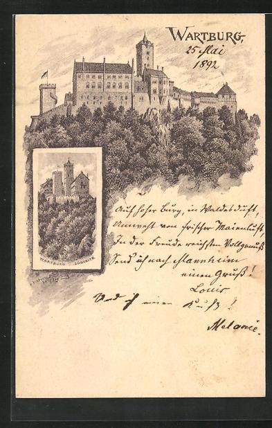 Vorläufer-Künstler-Lithographie Eisenach, 1892, Wartburg, Ganzsache PP9 F400 0