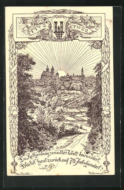 Künstler-AK Hans Prentzel: Rothenburg o.T., 750 Jahrfeier 1172 - 1922, Ganzsache PP52 C6 0