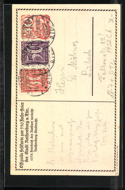 Künstler-AK Hans Prentzel: Rothenburg o.T., 750 Jahrfeier 1172 - 1922, Ganzsache PP52 C6 1