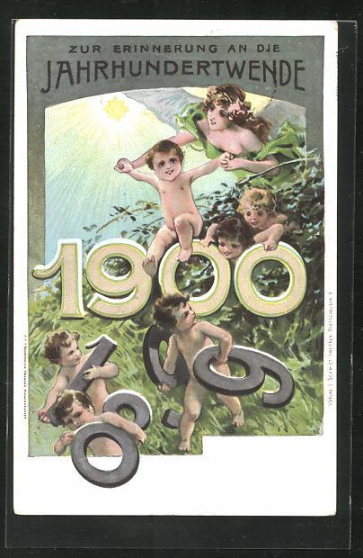 Lithographie Zur Erinnerung an die Jahrhundertwende, Putten mit Jahreszahl 1900 0