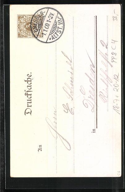 Lithographie Zur Erinnerung an die Jahrhundertwende, Putten mit Jahreszahl 1900 1