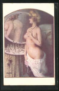 Künstler-AK Raphael Kirchner: La jolie Maud, weiblicher Akt vor Spiegel, Erotik