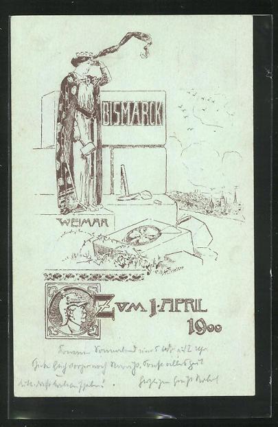 Künstler-AK H. Flintzer: Weimar, Bismarck - Zum 1. April 1900, Ganzsache PP7 C7 0