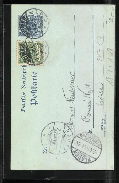 Künstler-AK H. Flintzer: Weimar, Bismarck - Zum 1. April 1900, Ganzsache PP7 C7 1