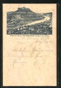 Vorläufer-AK Der Lilienstein, 1891, Sächsische Schweiz, Panorama, GanzsachePP9 F317