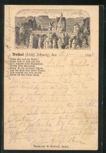 Vorläufer-AK Bastei, 1893, Sächs. Schweiz, Panorama, Ganzsache PP9 F218