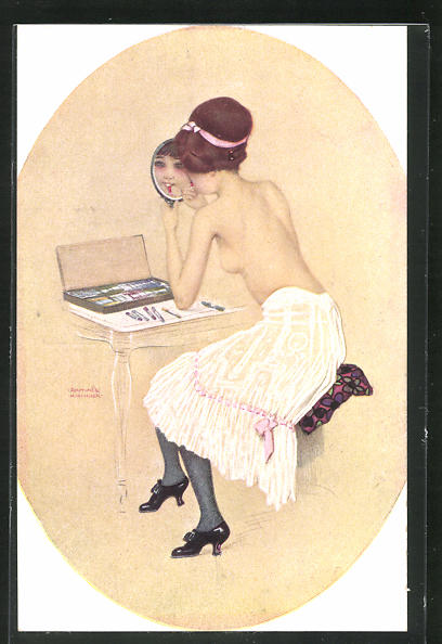Künstler-AK Raphael Kirchner: Peinte par elle-même, Erotik, junge Dame mit nackter Brust mit Handspiegel 0