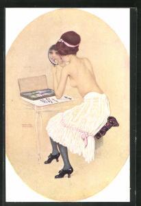 Künstler-AK Raphael Kirchner: Peinte par elle-même, Erotik, junge Dame mit nackter Brust mit Handspiegel