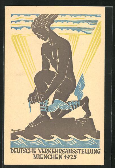 Künstler-AK M. Eschle: Muenchen, Deutsche Verkehrsausstellung 1925, Hermes, Ganzsache PP81 C5 /01 0
