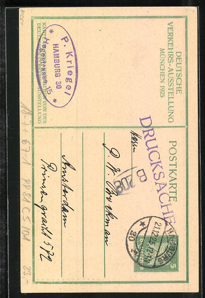 Künstler-AK M. Eschle: Muenchen, Deutsche Verkehrsausstellung 1925, Hermes, Ganzsache PP81 C5 /01 1