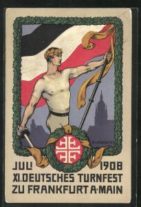 Künstler-AK H. Landgrebe: Frankfurt a. Main, Juli 1908, XI. Deutsches Turnfest, Ganzsache PP27 C97 /01