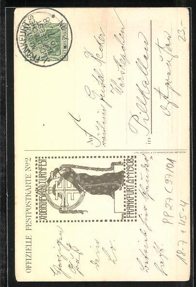 Künstler-AK H. Landgrebe: Frankfurt a. Main, Juli 1908, XI. Deutsches Turnfest, Ganzsache PP27 C97 /01 1