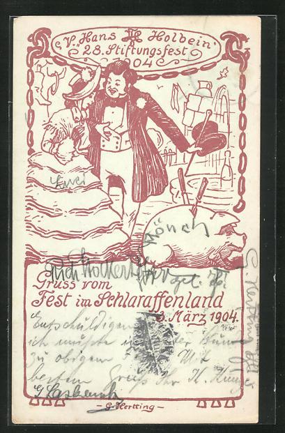 Künstler-AK G. Hertting: Dresden, Fest im Schlaraffenland 1904, V. Hans Holbein, 28. Stiftungsfest 0