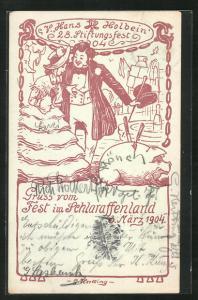 Künstler-AK G. Hertting: Dresden, Fest im Schlaraffenland 1904, V. Hans Holbein, 28. Stiftungsfest