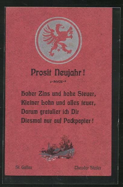 Packpapier-AK Prosit Neujahr! - Hoher Zins und hohe Steuer..., Scherz 0