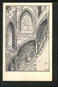 Künstler-AK Hubert Kratz: Friedberg, Judenbad - Mikwe