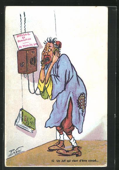Künstler-AK P. Néri: Un Juif qui vent d`être coupé..., Scherz, Antisemitismus, Telefon 0