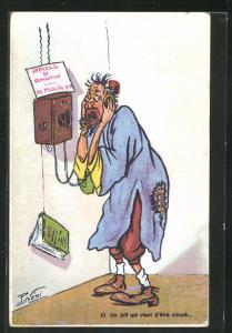Künstler-AK P. Néri: Un Juif qui vent d`être coupé..., Scherz, Antisemitismus, Telefon