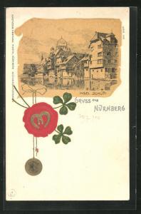 Präge-Lithographie Nürnberg, Insel Schütt mit Synagoge