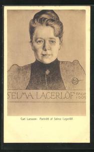 Künstler-AK Carl Larsson: Portrait af Selma Lagerlöf