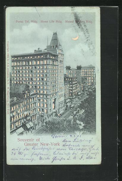 AK New York, NY, Postal Tel. Bldg., Home Life Bldg., Mutual Preserve Bldg, Halt gegen das Licht 0