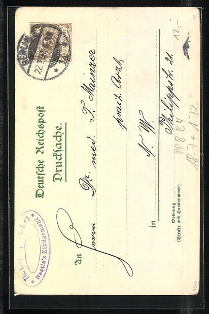Lithographie Berlin, General-Depot Nestle`sches Kindermehl, Kaiser Wilhelm der Grosse-Denkmal, PP8 B4 1