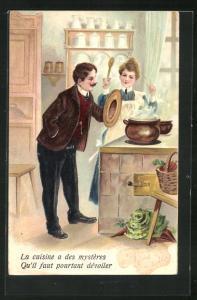 Präge-Lithographie La cuisine a des mystères..., Dienstmädchen, Köchin