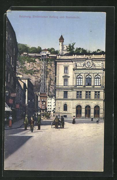 AK Salzburg, Elektrischer Aufzug und Realschule 0