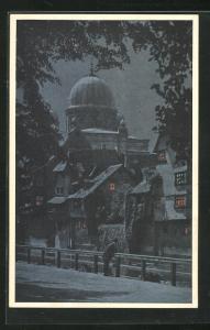 AK Nürnberg, An der Insel Schütt, Synagoge bei Nacht