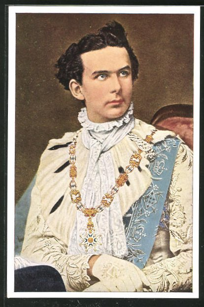 AK König Ludwig II., Portrait mit Orden 0