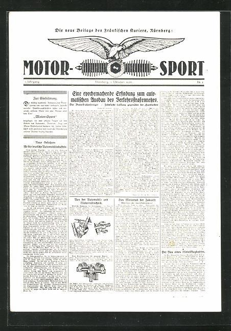 AK Motor-Sport, die neue Beilage des Fränkischen Kuriers, 1. Oktober 1926 0