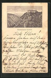 Vorläufer-Lithographie Ganzsache PP6F71: Thale, 1883, Panoramablick auf Hotel und Hexentanzplatz