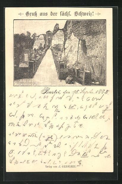 Vorläufer-Lithographie Ganzsache PP6F20/07: Bastei / Sächsische Schweiz, 1888, Blick über die Basteibrücke 0