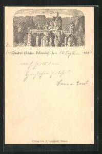 Vorläufer-Lithographie Ganzsache PP6F20: Bastei / Sächsische Schweiz, 1886, Blick auf die Basteibrücke