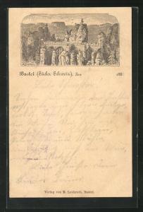 Vorläufer-Lithographie Ganzsache PP6F20: Bastei / Sächsische Schweiz, 1888, Panoramablick auf die Basteibrücke