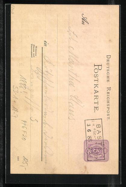 Vorläufer-Lithographie Ganzsache PP6F20: Bastei / Sächsische Schweiz, 1888, Panoramablick auf die Basteibrücke 1