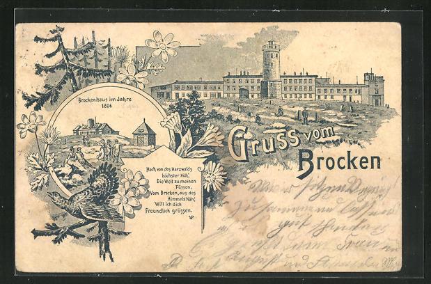 Lithographie Ganzsache PP9F229 / 019: Brocken, Blick zum Brockenhotel, Brockenhaus im Jahre 1806 0
